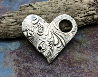Artisan Bronze PMC Heart Toggle Clasp Pendant