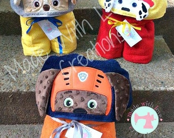 Safety Pups Hooded Towels-Kids Hooded Towels-Character Hooded Towels-Birthday Gifts-Fire Pup-Police Pup-Safety Pups Inspired Hooded Towels