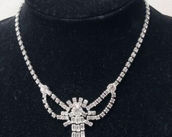 The diamond look by Kramer. 1950s Rhinestone necklace and earring set. Original box. Fine craftsmanship .