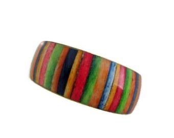 brass multi color striped bracelet, bangle bracelet, brass bangle bracelet, tropical ocean, boho, spring summer