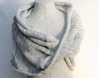 Chunky mohair blend infinity wrap shawl hands free knit throw blanket in super soft chunky cotton, mohair, silk - Ash