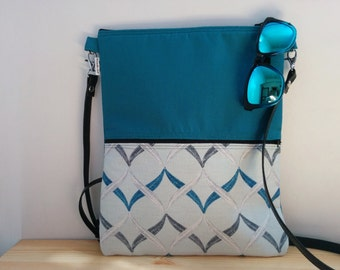 Canvas Tote Bag,tote bag,turquoise tote,crossbody bag,zippered bag,blue purse bag,boho bag,geometric bag,printed bag,turquoise purse