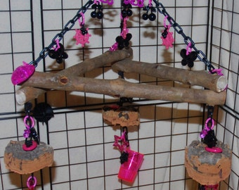Sugar Glider Toy- XL Eucalyptus Triangle Swing with Foraging Cups and Cork