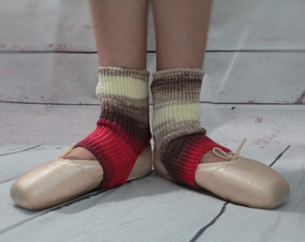 Yoga/Dancer's legwarmers hand cranked and finished CANDY STRIPE red, brown, biscuit and cream  Short socks with open heel one size fits all
