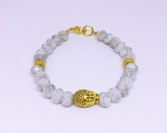 Marble Crystal and Gold Buddha Bracelet
