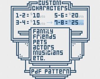 7-8 Custom Characters Cross Stitch Pattern PDF Commission