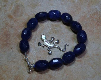 206.00 Carats of Earth Mined Oval Faceted Rich Deep Blue Sapphire Gemstones, 825 Silver Bracelet