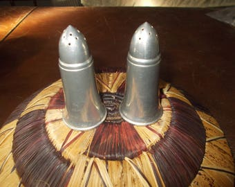 A L Hanle Distinctive American Pewter Salt and Pepper Shakers