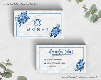 Monat Business Cards, Personalized Printable Marketing, Blue Custom Business Branding, Monat Marketing, Business Card