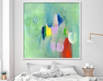"Extra large wall art Colorful Giclee art print of abstract painting Paris green art Modern Canvas art up to 40x40""  by Duealberi"