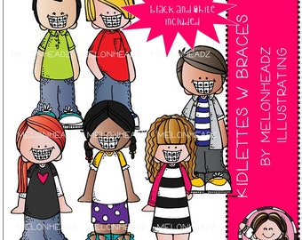 Kidlettes with Braces clip art - Mini
