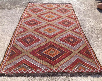 "Large Kilim rug, Muted Blue and red Embroidered Kilim rug, Wool area rugs, 135"" x 75.5"", kelim rug, vintage rugs, Turkish rug, rug, rugs,571"
