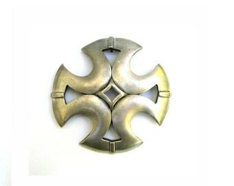 """Vintage Hattie Carnegie Pewter Maltese Cross Brooch 3.14"""""""