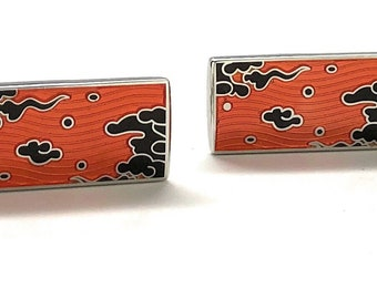 Autumn Dream Cufflinks Silvertone Whale Tail Backing with Swivel Post Cool Design Cuff Links Comes with a Gift Box