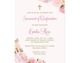 Floral First Communion Invitation, Baptism Invitation, Boy Printable Confirmation Invitation, Girl Communion Invitation, Invitacion Comunion