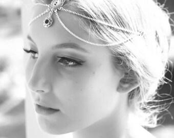Forehead Jewelry Bridal Forehead Headpiece Forehead Headpiece Forehead Headband Bridal Jewelry Bridal forehead headband Boho Jewelry - Blue