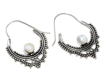 White Brass Moonstone Gemstone Hoop Earrings Tribal Earrings Mandala Jewellery Free UK Delivery Gift Boxed WB56