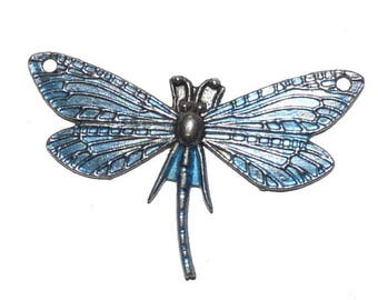 charm blue butterfly jewelry pendant Dragonfly with 2 holes
