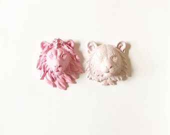 Set of 2 SMALL Animal Head Set Small Lion + Small Tiger Faux Taxidermy Wall mounts, Small Faux Taxidermy Animal Wall Hangings, Mini animals