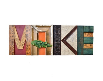 """reclaimed wood, mixed media assemblage, BIG 22"""", architectural wood salvage, sign original MAKE sign  by Elizabeth Rosen"""