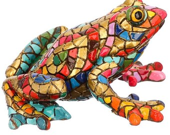 "Ceramic frog statue, model ""Carnival"" mosaic. Length 3.1 inches"