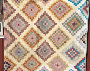 Large Vintage Flour-sack Fabric Bed Quilt, Hand-quilted & Sewn