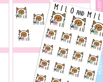 Cat and Coffee Cat Cup | Planner Stickers |