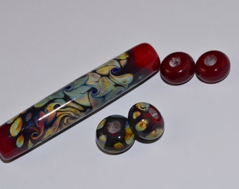 Handmade Glass Focal Bead with Matching Spacer Beads