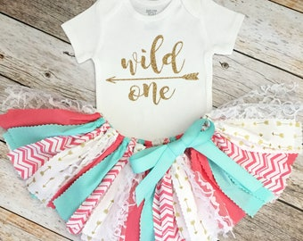 Coral, Mint and Gold Wild One Tribal Birthday Outfit, Arrow Bodysuit, First Birthday Outfit/Fabric Tutu/Baby Girl/Shirt with Age