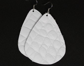 White Alligator-Embossed Leather Teardrop Earrings