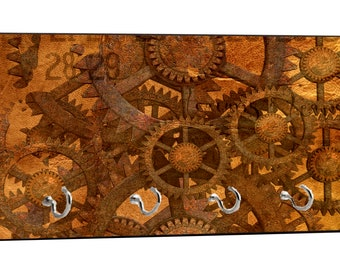 "Steampunk Gears Print Design - 5"" by 11"" Key Hanger Household Decoration with Four Hooks"