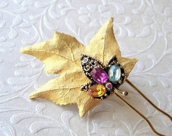 Gold Maple Leaf Hair Comb Vintage Fruit Salad Rhinestone Jewelry Hairpiece Bohemian Chic Bride Wedding Headpiece Fuchsia Amber Aquamarine