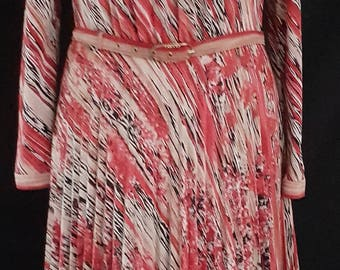 Vintage 1980's 80's red striped graphic print pleated secretary dress UK size 10 - 12