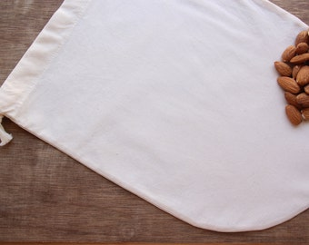 100% All Organic Nut Milk Straining Bag Reusable -- Organic unbleached Cotton, Organic cotton thread and organic cotton drawstring