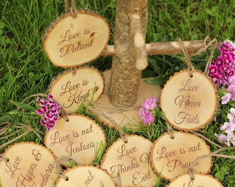 Corinthians 13 Set of Aisle Markers 'Love is Patient, Love is Kind..', 10 PCS  1.Cor.13: Rustic Wedding Aisle Decor Bible Decorations Verses