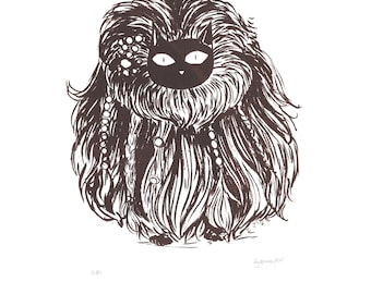Funny Hairy Cat screen print brown limited edition