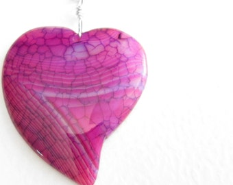 Magenta Heart Shaped Necklace, Pink & Blue Agate Pendant, Valentine's Jewelry