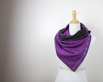 Sale! Ultra Violet Gray Snap Scarf, Reversible Purple & Gray Scarf, Snap scarf, 9 ways to wear, fitness scarf, gift for her, high quality