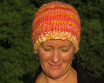 Beanie - Handspun, Handpainted & Hand Knit - Merino Wool - Thick and Warm - Beachy Sunrise
