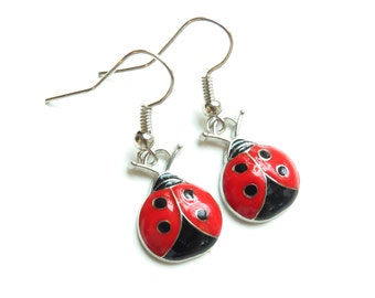 Lady Bug Dangle Earrings