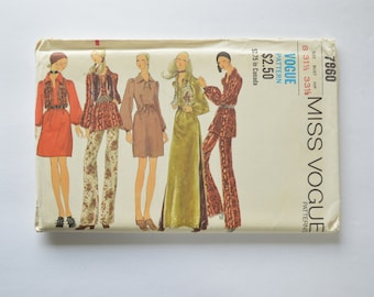 1970s Vintage UNCUT Vogue Sewing Pattern 7860 Womens Boho Hippie Chic Dress or Tunic Top, Fitted Vest & Flared Pants Size 8
