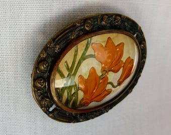 Antique Oval Hand-Painted Brooch Under Glass - Foil Backed with Orange Flowers