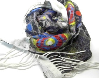 Scarf nuno felted Shawl Hundertwasserhaus inspired,One of kind,OOAK Ready to Ship