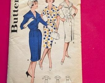 Vintage 1950s Butterick Pattern 9305 Misses and Womens step in Dress Size 14 Bust 34