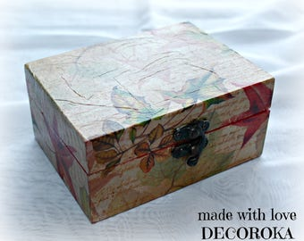 Red autumn wooden rectangular box