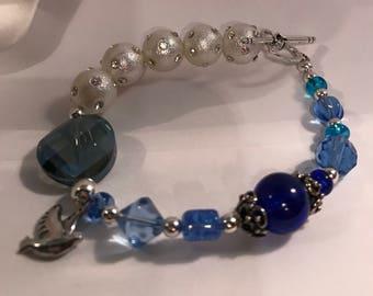 Blue Beaded Toggle Bracelet-Zeta