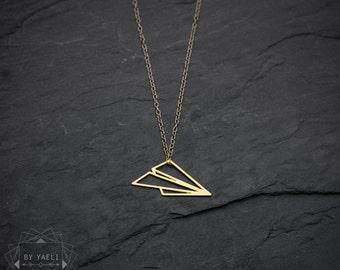 L'air avion origami Collier Collier géométrique minimaliste bijoux origami bijoux délicat collier minimaliste collier