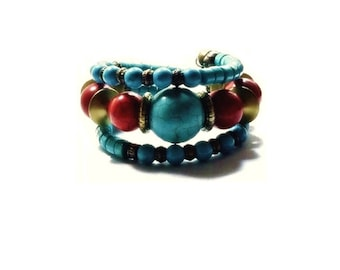 Turquoise  Bracelet , Blue  & Red Turquoise Gemstones , Brass Beads ,  Chunky Bead Bracelet , Memory Wire Bracelet , Turquoise Wrap Bracelet