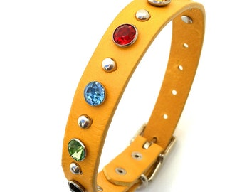 Yellow Leather Dog Collar with Giant Jewel Tone Crystals and Silver Studs, Size S, to fit a 10-13in Neck, Small Dog, EcoFriendly, OOAK