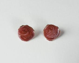 vintage marbled pink earrings   vintage hoops   pierced earrings   statement earrings   90s earrings   Able Shoppe